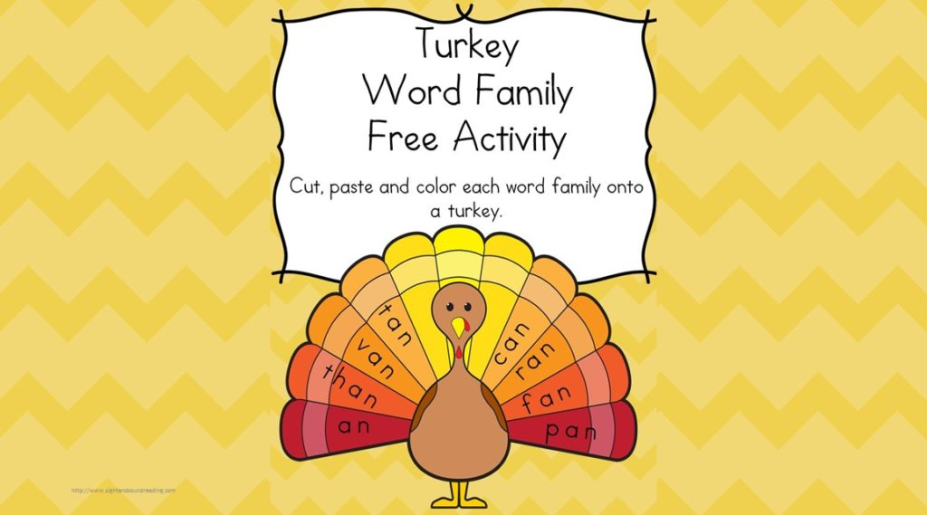 Thanksgiving Worksheet for Kindergarten -Free Activity - Trace, cut and paste the word family onto the turkey! Great for First grade too!