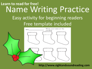 Name writing practice on stockings! Fun Christmas time activity. Visit https://www.sightandsoundreading.com to get your free worksheet.
