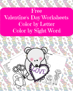 Free Valentine's Day worksheet for preschool or kindergarten. Color by letter and color by sight word worksheets great for Valentine Day fun!