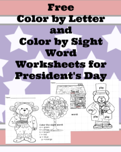 Presidents day worksheets - Color by letter and Color by number