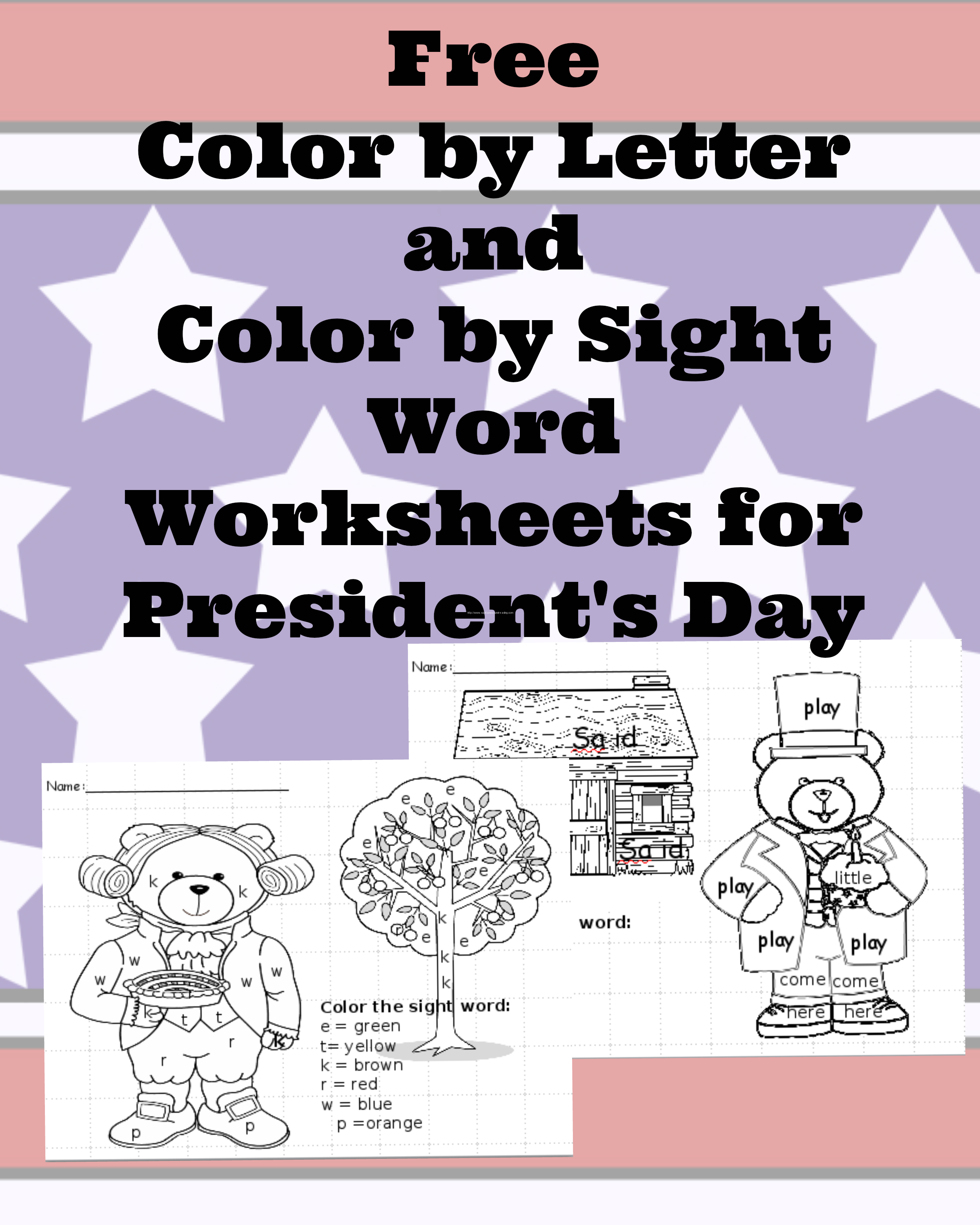 worksheet George Washington Worksheets presidents day worksheets for preschool or kindergarten you can see from the above image we have an abe lincoln and a george washington bear has sight words on h