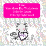 Free Valentine Day worksheet: Color by letter, Color by Sight Word
