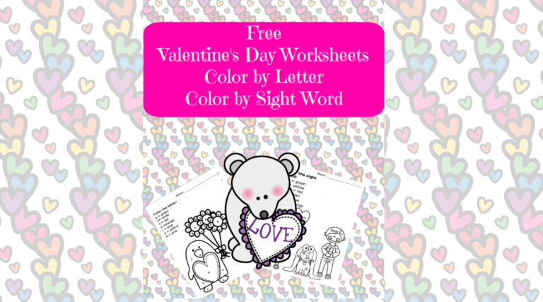 2 Valentine Day Worksheets -Color by Letter/Sight Word