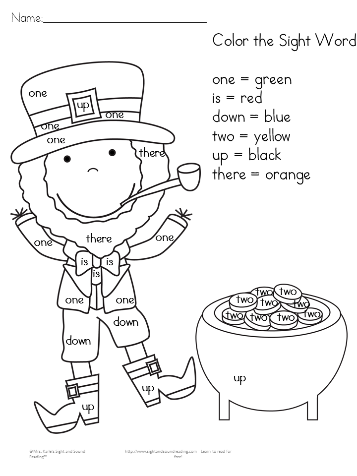 Free St. Patrick's Day Worksheets -great for kindergarten or preschool: Color by letter and color by sight word