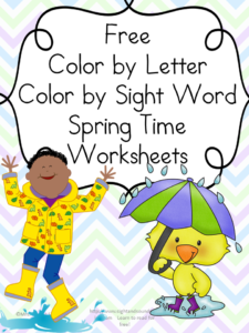 Spring Worksheets: Color by letter/Color by Sight Word, great for preschool or kindergarten