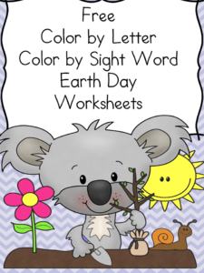 Earth Day worksheets: Color by letter/Color by Sight Word: Great for preschool or kindergarten