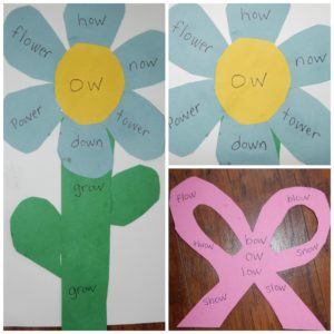 Words with Ow Sound: Cute craft to teach the OW sound: Flower with a bow