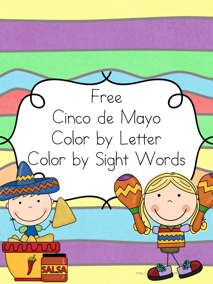 Cinco de Mayo Coloring Pages: Color by letter and Color by Sight Word great for kindergarten or preschool to help celebrate or use when teaching about Cinco de Mayo