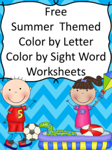 Free Summer themed color by letter/color by sight word worksheets..and great ideas for water games!