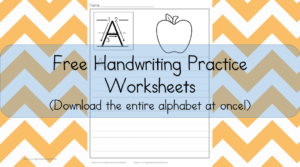 Free Printable Handwriting Worksheets -Download the entire alphabet at one time! 15 different worksheets