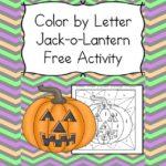 Color by Letter Jack-o-Lantern. Fun Kindergarten or Preschool Halloween Worksheet Activity!