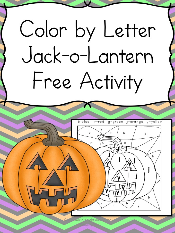 Color by Letter Jack-o-Lantern. Fun Kindergarten or Preschool Halloween Worksheet Activity!
