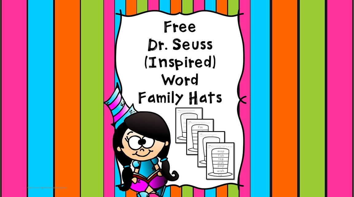 Dr Seuss Word Family Hats - Help teach reading, writing, spelling and rhyming with these word family hats - Dr. Seuss style...! Great for Kindergarten or Preschool!