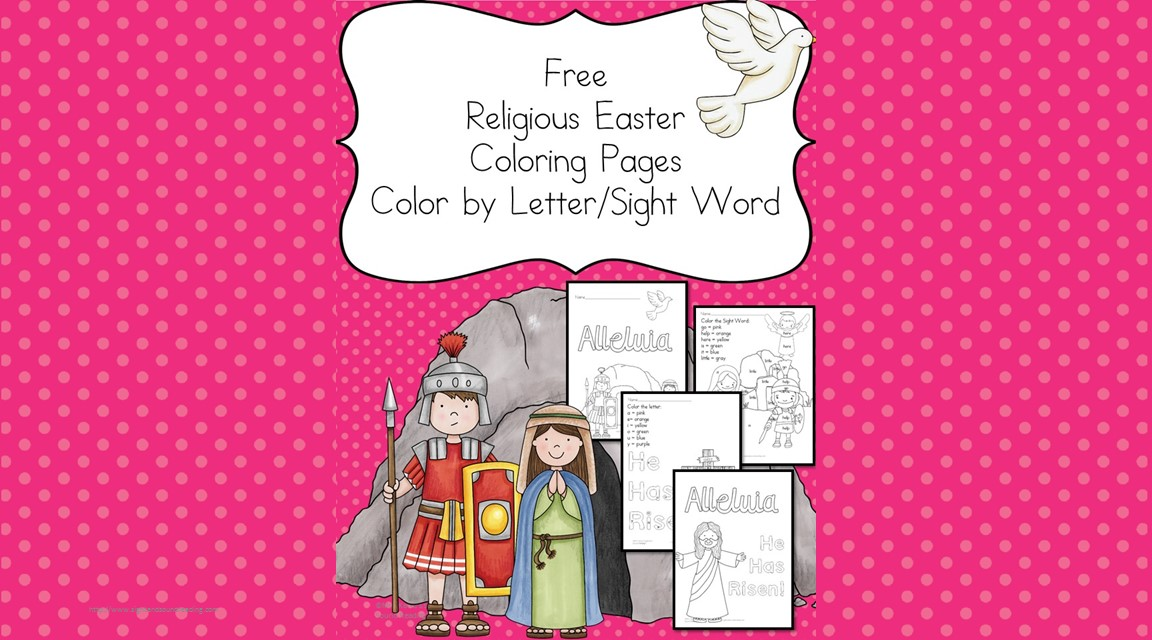 Religious Easter Coloring Pages - Color by Letter/Sight word