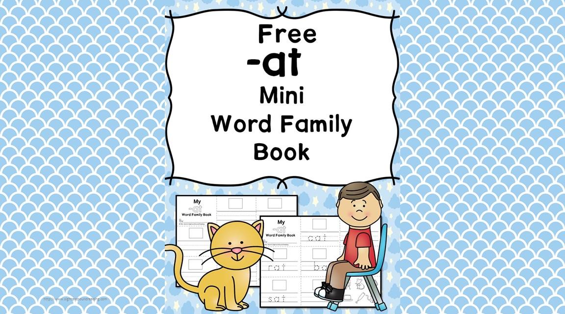 2 Free CVC AT Family Worksheets -Make a Minibook!
