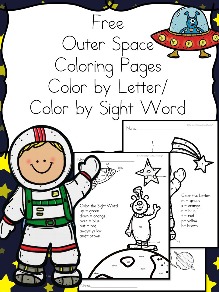 Outer Space Coloring Pages -Color by Letter/Sight Word
