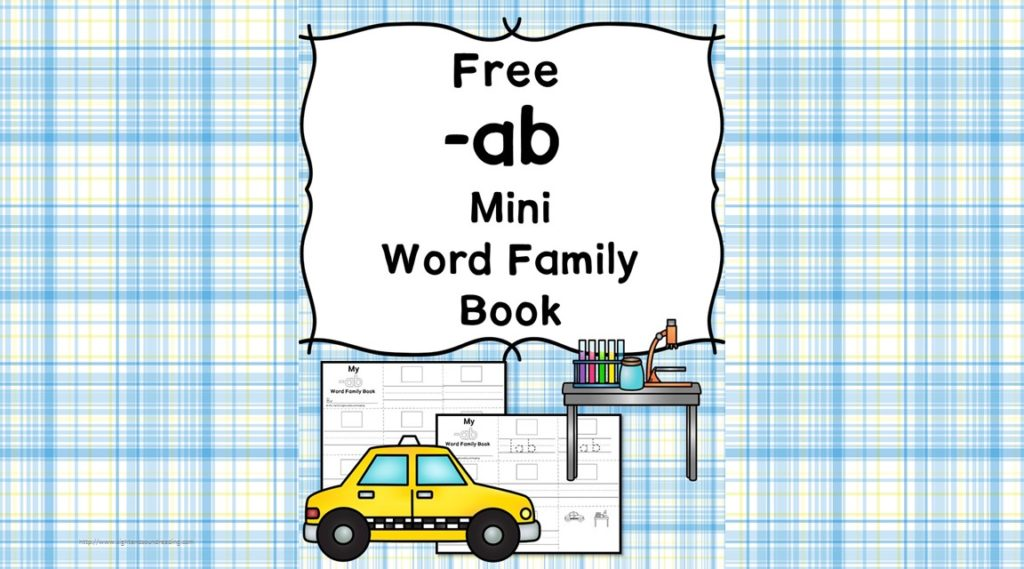 Teach the ab word family using these at cvc word family worksheets. Students make a mini-book with different words that end in 'ab'. Cut/Paste/Tracing Fun