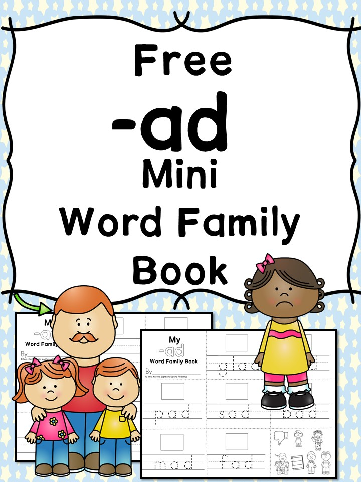 AD CVC Word Family Worksheets -Word Family cut/paste activity