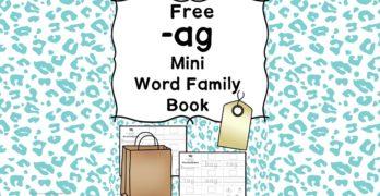 AG CVC Word Family Worksheets