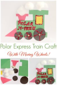Choo, choo! This cute and fun Polar Express Train Craft has moving wheels and super easy to make in a preschool or kindergarten classroom.