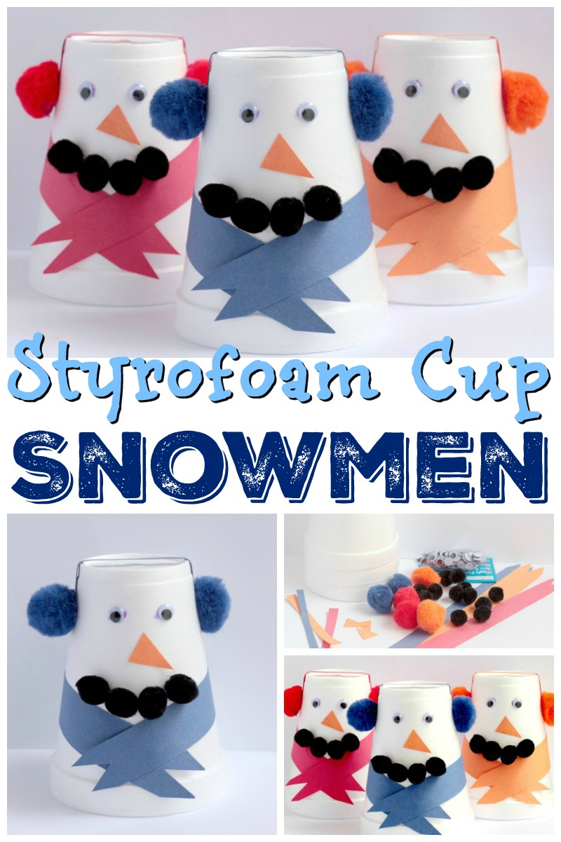 Enjoy winter indoors with these cute, easy and fun Styrofoam Snowman Crafts. ..So easy, even a preschool or kindergarten student can do!