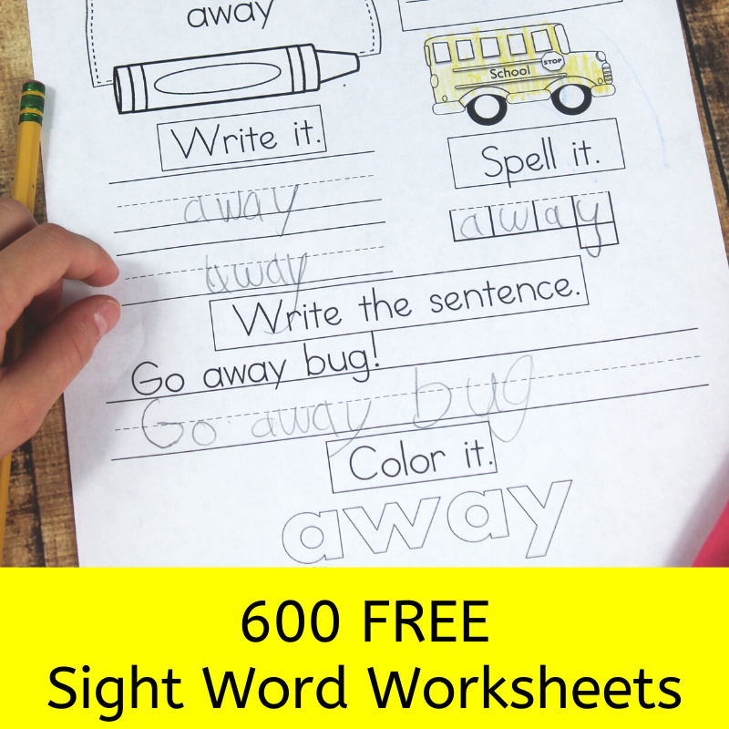 600 Free Sight Word Worksheets
