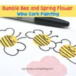 Easy Bumble Bee and Spring Flower Wine Cork Painting