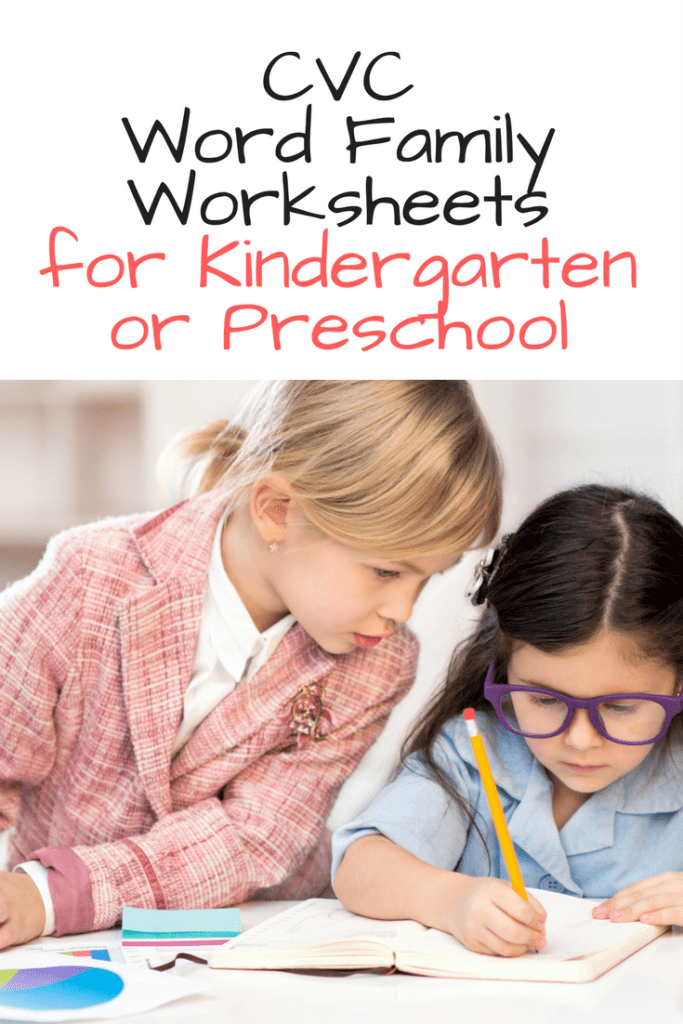 CVC word family worksheets for kindergarten -help teach phonics and reinforce reading fluency by practicing word families and cvc worksheets