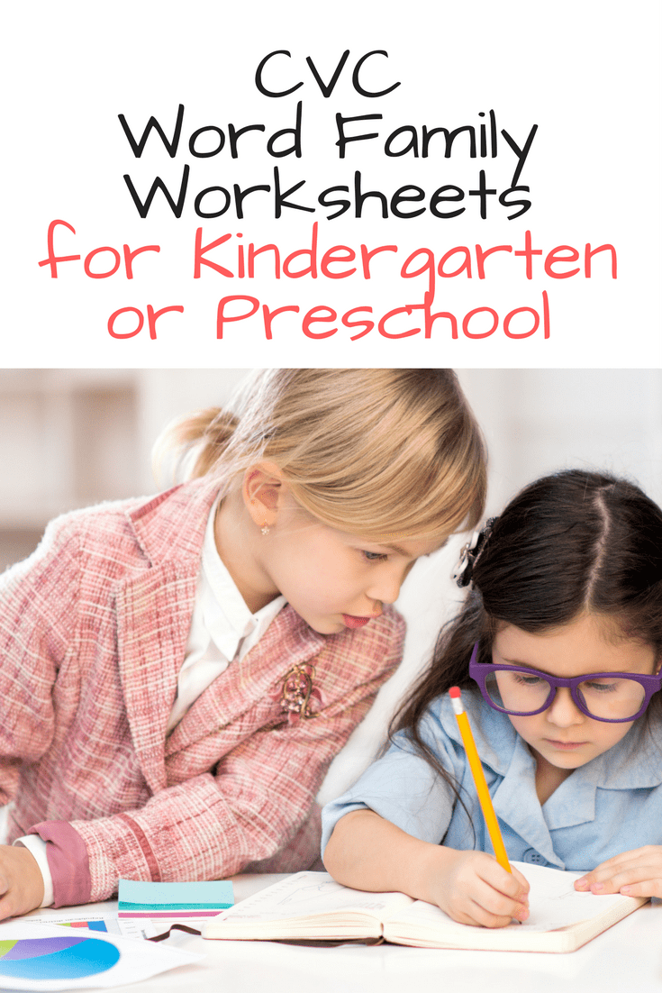 CVC word family worksheets for kindergarten -help teach phonics and reinforce reading fluency by practicing word families and cvc worksheets