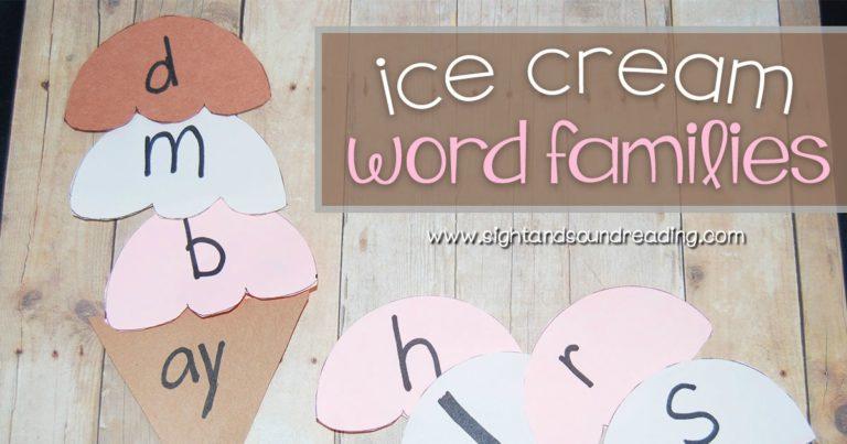 Ice Cream Word Family Craft