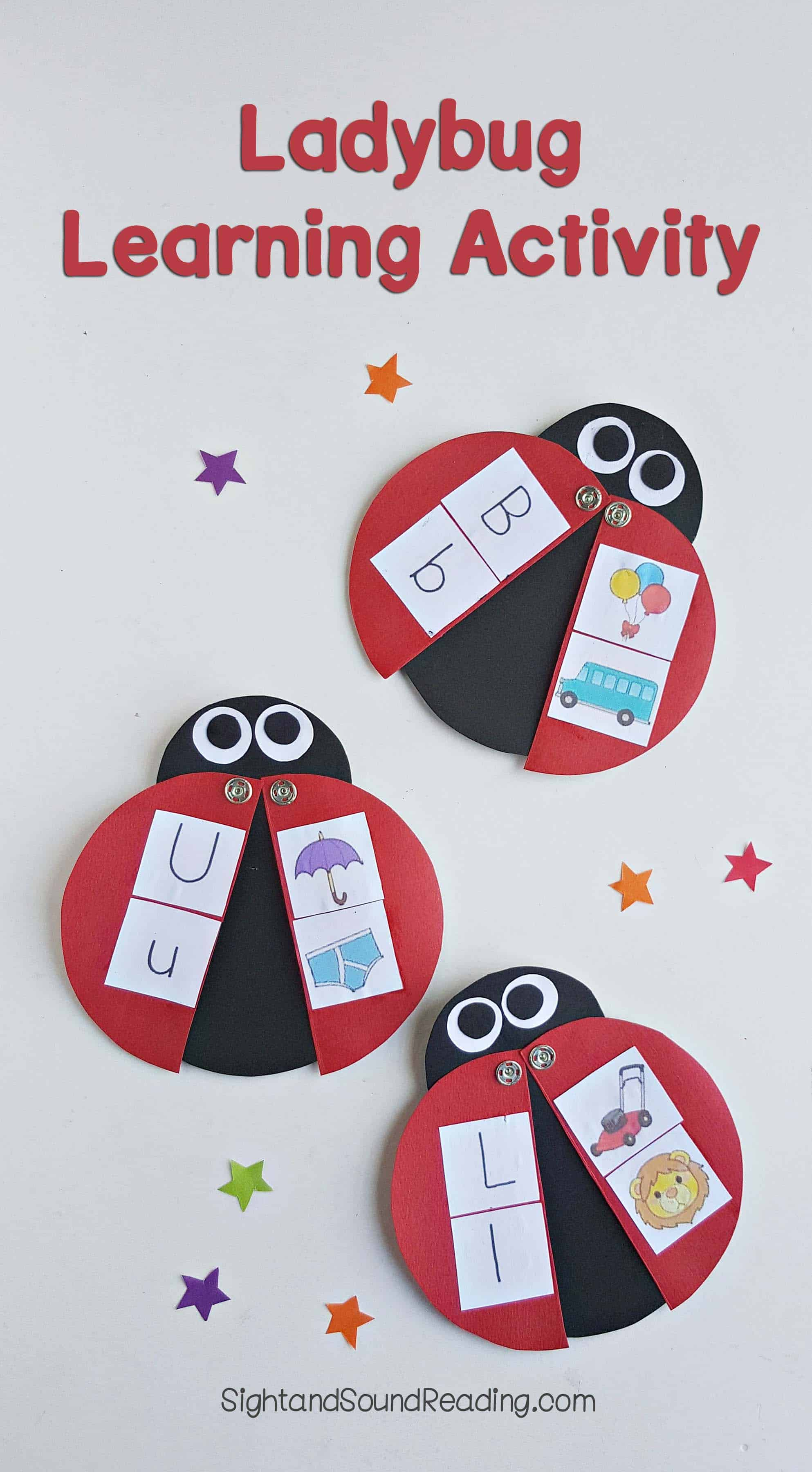 Today I am going to share ladybug learning activity tools for kids to get more familiar with some facts they learn. The example pictures here show some upper and lower case letters for children to memorize. You can use other facts, such as multiplication and addition as well.