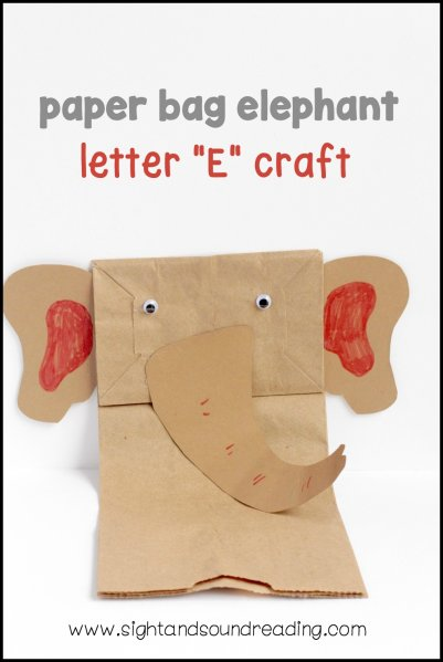 Letter E Craft - Paper Bag Elephant Puppet