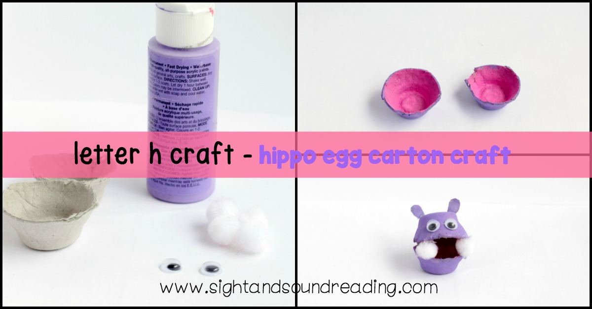 Although real hippos are fearsome and dangerous, these hippo egg carton craft is neither dangerous nor fearsome learning letter h craft.