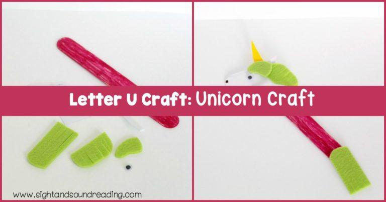 Letter U Craft: Unicorn Craft