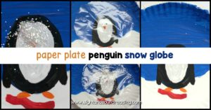 Instead of playing with dangerous and messy snow globes, kids can make their own paper plate penguin snow globe using a paper plate and some craft supplies!