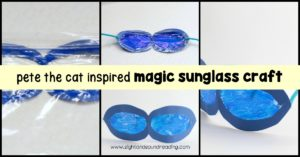 This fun craft lets kids create their own set of Pete the Cat magical sunglasses craft based on Pete the Cat and His Magical Sunglasses.