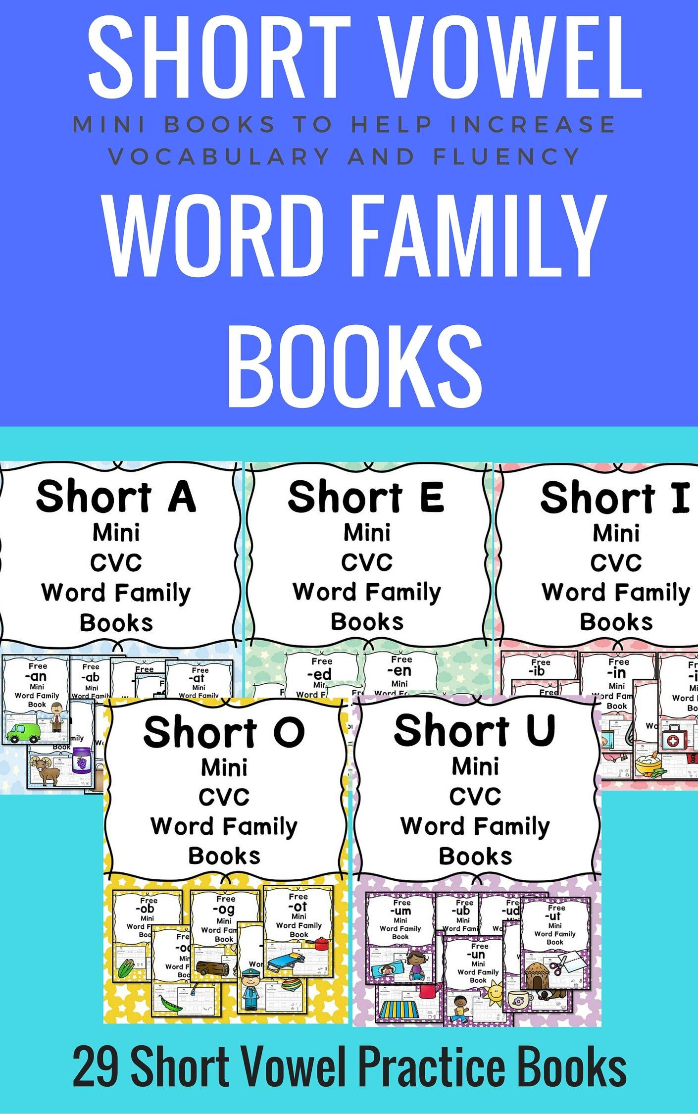 Short Vowel word family books: A bundle of mini-books to help teach short vowel word families