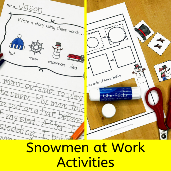 Snowmen at work acitivites for kindergarten - for a community helper unit