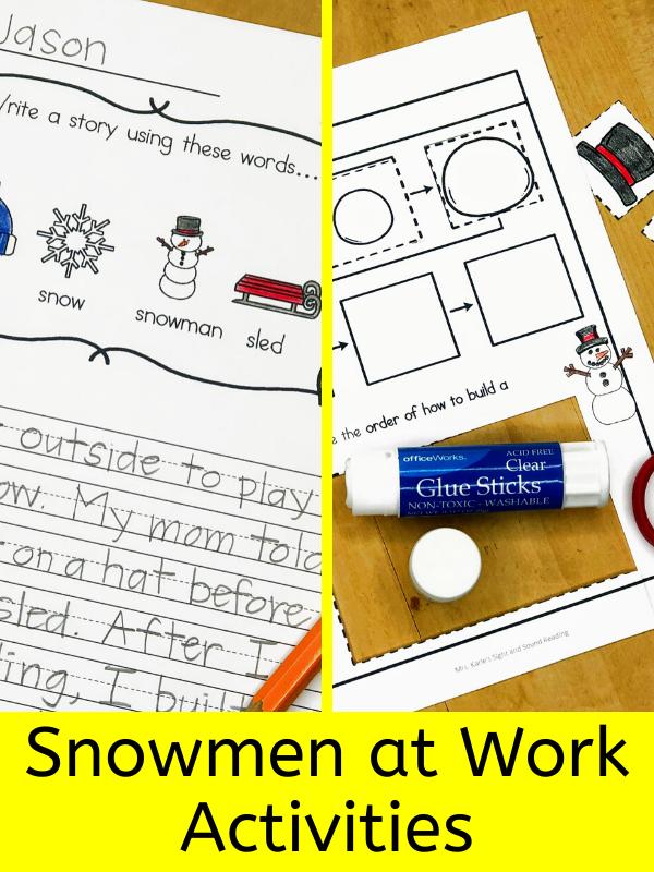 Snowmen at work acitivites for kindergarten - for a community helper unit