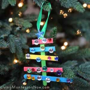 Sparkly Craft Stick Christmas Tree Ornament