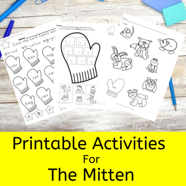 Printable activities for the Mitten for preschool/Kindergarten