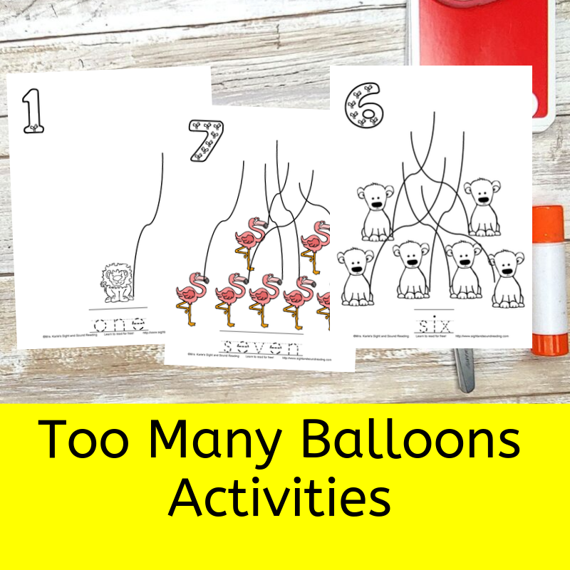 Too Many Balloons -activities for the Catherine Mathias book