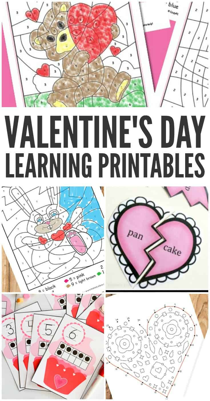 Here is a list of V-day themed learning resource a whole lot of engaging Valentine's day learning printables to use with children.