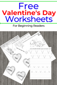 Free Valentines Day worksheets for beginning readers