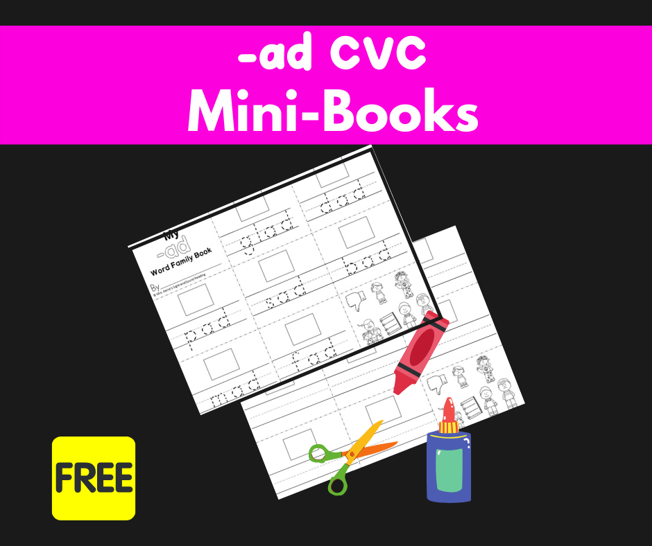 2 Free CVC AD Word Family Worksheets-Build a mini-book!