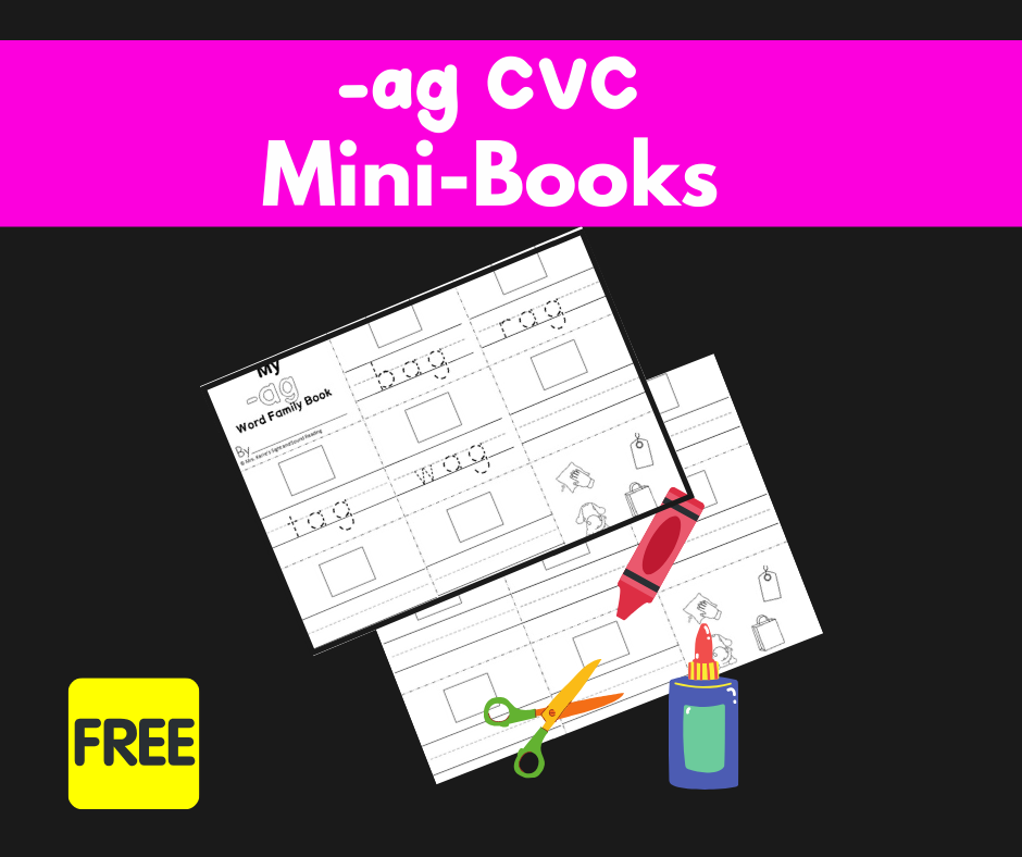 2 Free Worksheets: CVC Words AG Family-Build a Minibook!