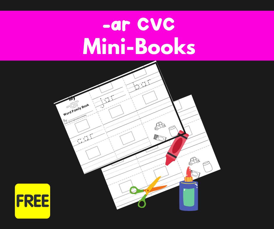2 Free CVC AR Family Worksheets-Build a Minibook!