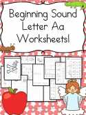 Beginning Sound Letter A worksheets for preschool or kindergarten