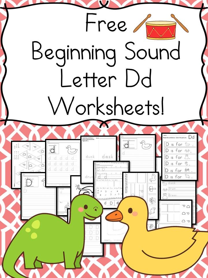 beginning sounds letter d worksheets free and fun. Black Bedroom Furniture Sets. Home Design Ideas