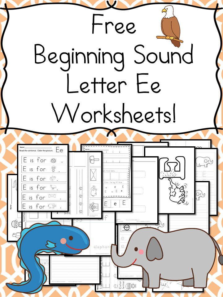 beginning sounds letter e worksheets free and fun. Black Bedroom Furniture Sets. Home Design Ideas